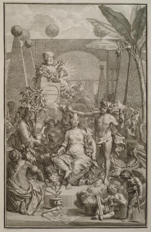 Allegorie op de teelt van exotische gewassen. Titelprent van Linaeus'Hortus Cliffortianus, door jan Wandelaar (1738)