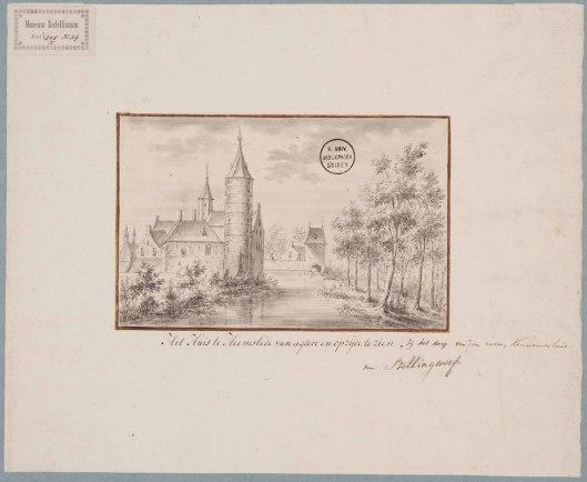 Huis te Heemstede, circa 1727-1729. Tekening door Antonia Houbraken (1686-1736). (coll. Bodel Nijenhuis-UB Leiden).