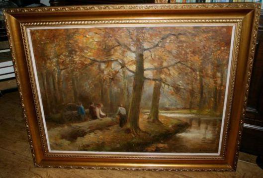 Houthakkers in Groenendaal, door kunstschilder A.C.van Noort (1914-2003)