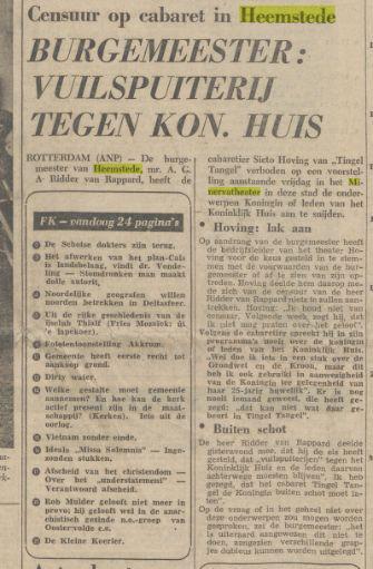 Verbod optreden Hoving in Minervatheater Heemstede. Uit: Friese Koerier, 19-11-1966.