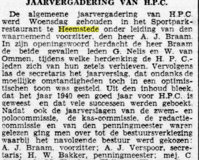 Herdenking van omgekomen G.Nelis en W.,van Ommen tijdens jaarvergadering HPC (Opr. Haarlemsche Courant, 13-3-1941)