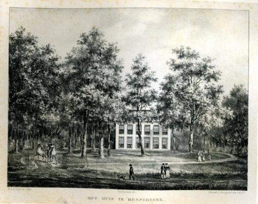 De hofstede Huis te Bennebroek (litho P.J.Lutgers, 1837-1844)