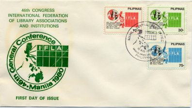 Commemorating IFLA-Congess in Manila, Philippines with 3  postage stamps. First-day-cover
