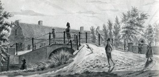 De ijzeren brug over de Zandvaart. Tekening van Wijbrand Hendriks, 18e eeuw