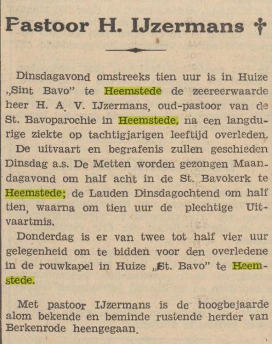 Bericht overlijden pastoor H.IJzermans, uit: de Tijd van 9 april 1036