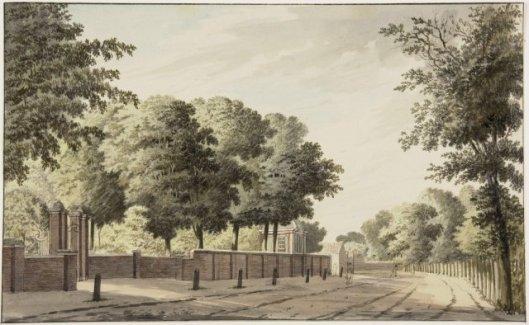Ingangspartij Oud Berkenrode aan de Wagenweg. Tekening door Hendrik Tavenier (1734-1804), 1782  (NHA)