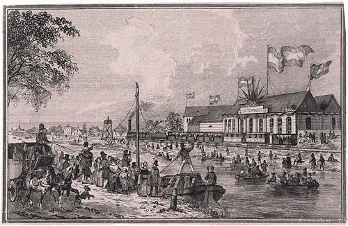 Inwijding stoomtram spoorlijn Amsterdam-Haarlem in 1839. Met afbeeldingen ook van de trekschuit en diligence als (toekomstige) concurrenten in het openbaar vervoer (Rijksmuseum Amsterdam)