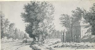 De Herenweg met inrijhek en( gesloopte) koepel van hofstede Ipenrode, Heemstede. Pentekening door Cornelis van Noorde (1731-1795) (Noord-Hollands Archief)