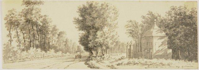 Toegngspoort en koepel van huize Ipenrofr aan de Herenweg in Heemstede. Tekening door Cornelis van Nootde (1731-1795) (N.H.A.)