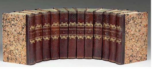 Italiaanse editie in 12 banden van Casanova's 'Storia della mia vitra'.