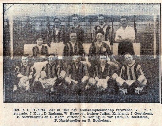 RCH elftal dat in 1923 kampioen van Nederland werd.