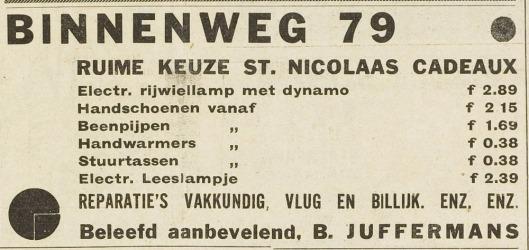 B.Juffermans, Binnenweg 79 (adv. Eerste Heemsteedsche Courant, 1934)