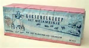 Oude verpakking van karnemelk-zeep, 'Het Klaverblad', Haarlem