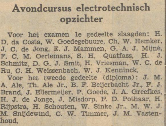 Slagen van W.J.Kenninck voor cursus electrotechnisch opzichter. (De Tijd, 3-12-1933)