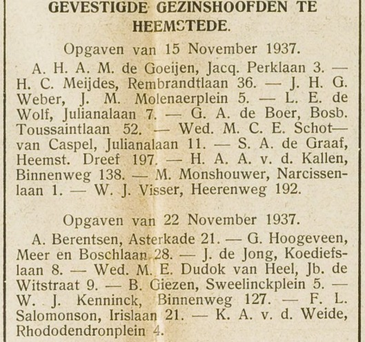 Verhuizing van W.J.Kenninck van Haarlem naar Heemstede, Binnenweg 127 (EHC, 2-12-1937)