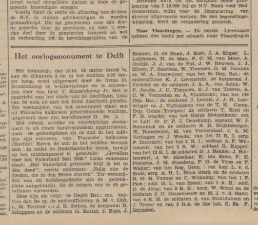 Geen vermelding van W.J.Kenninck op bevrijdingsmonument Heemstede, wèl in Delft