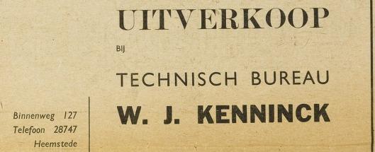 Installatiebureau W.J.Kenninck, geopend in 1937, in een advertentie van 22 augustus 1940