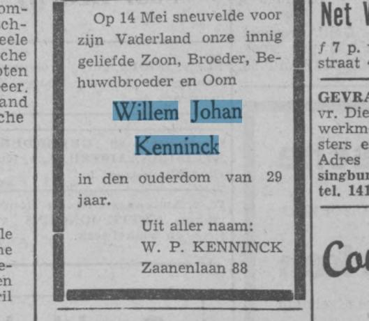 Rouwbericht familie Kenninck uit: Haarlem's Dagblad 21-5-1943