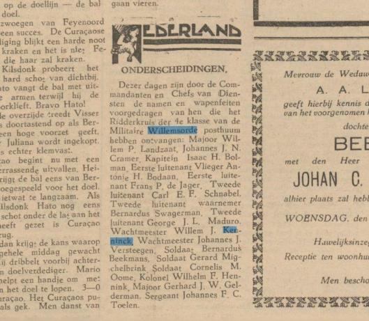 Bericht van postume toekenning Militaire Willemsorde 4e klasse aan W.J.Kenninck. Uit: Amigoe di Curacao 17-6-1946