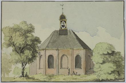 Hervormde kerk van Bennebroek. Aquarel in 1832 vervaardigd door Alexander Oltmans jr.