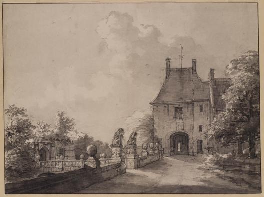 Tekening van restanten na afbraak van het kasteel, door Daniël Kerkhoff, 1818 (Teylers Museum)