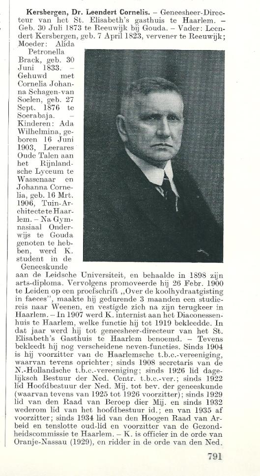 Beknopte biografie L.C.Kersbergen, uit: Persoonlijkheden in het koninkrijk der Nederlanden (1938)