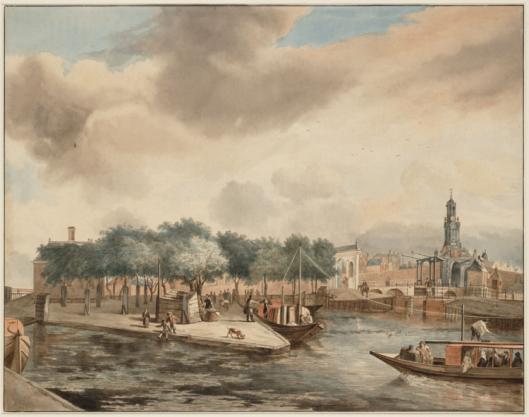 Haarlemmervaart in Amsterdam; aquarel door Jan van Kessel. Op de voorgrond de trekschuit naar Haarlem. (Stadsarchief Amsterdam)