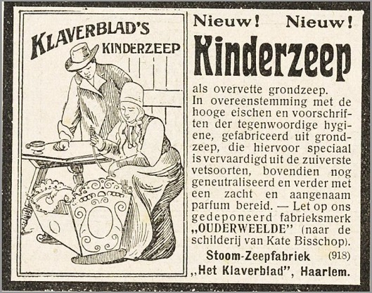 Reclame voor kinderzeep van zeepfabriek 'Het Klaverblad', Haarlem