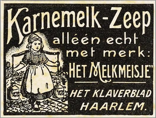 Reclame 'Het Melkmeisje' , Het Klaverblad Haarlem
