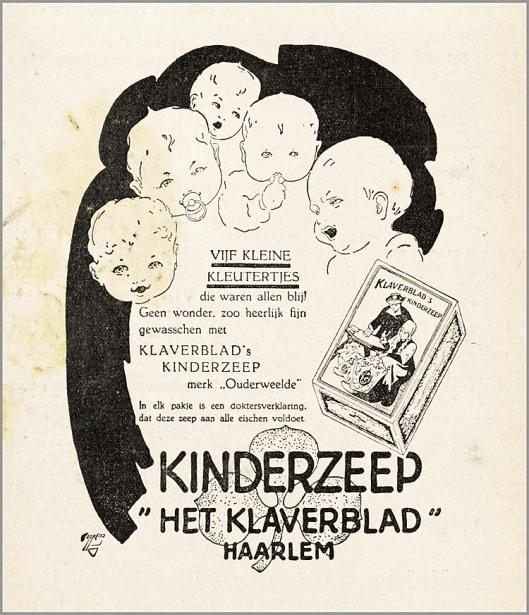 Reclame voor kinderzeep van 'Het Klaverblad', Haarlem