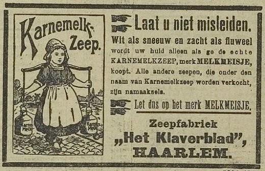 Advertentie van Karnemelk zeep, zeepfabriek Het Klaverblad Haarlem