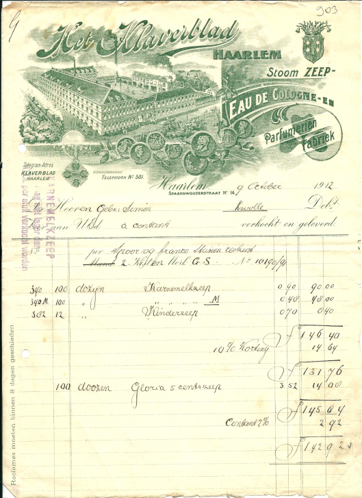 Nota met briefhoofd van zeepfabriek 'Het Klaverblad'in Haarlem uit 1912.