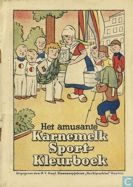 Voorzijde van 'Het amusante Karnemelk-Sport-Kleurboek', een uitgave van 'Het Klaverblad', Haarlem