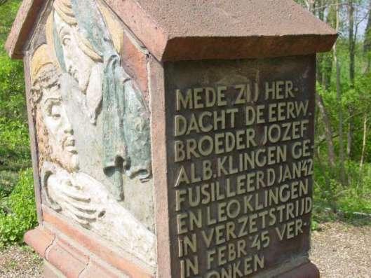 Een oorlogsmonument in Alem, gewijd aan (vader) Johan Klingen, zoon Leo Klingen, dochter Tilly Kingen en zoon Jan Klingen (= Broeder Jozef)