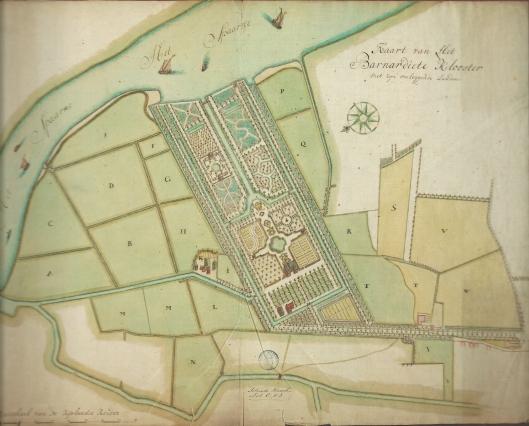 Kaart van geometrische aanleg hofstede Bernardieten klooster nabij het Spaarne door Dirk Klinkenberg, 1744
