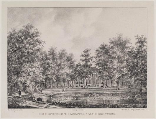 Hofstede 't Klooster omstreeks 1842 op een litho van P.J.Lutgers