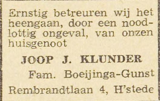 Overlijdensbericht Joop Klunder. Uit: Haarlem's Dagblad van 19-12-1944