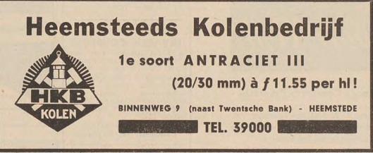 Advertentie van Heemsteeds Kolenbedrijf, Binnenweg 9.