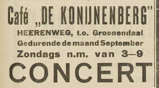 Bericht over een in 1922 te houden concert in de Konijnenberg, H.D., 7-9-1922