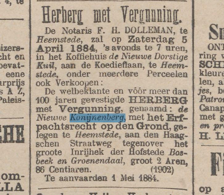 Advertentie betreffende verkoop van de Konijnenberg uit Het Nieuws van den Dag, 17 maart 1884