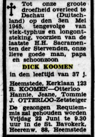Overlijdensbericht Dick (Dirk) Koomen, De Tijd 14-6-1945