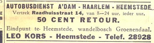 Voor 50 cent met de bus vanuit het centrum van Amsterdam naar wandelbos Groenendaal. Advertentie uit Wiering's Weekblad, 1939