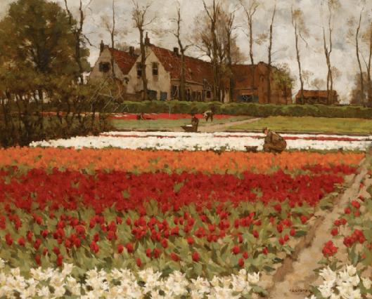 A.L.Koster (1859-1937: bloeiende bloembollenvelden bij Bronstee, Heemstede