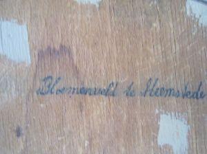 'Bloemenveld te Heemstede' [achterzijde schilderij A.L.Koster].