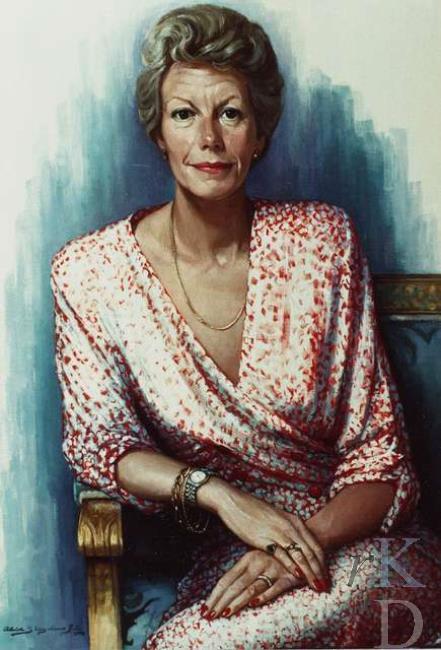 Portret van politica Neelie Kroes (geb. 1941), in 1989 vervaardigd door Aleid Slingerland