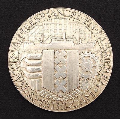 Andere zijde van medaille FLORA 1935 door de Kamer van Koophandel en Fabrieken toegekend aan N.Bos