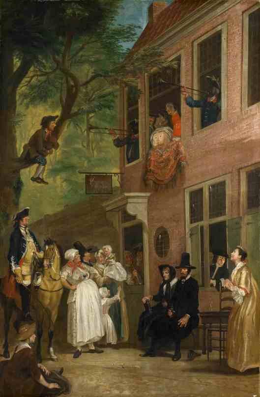 'Bezoek van de ambassadeur der Labberlotten' herberg 't Bokje in de Hout (1739), geschilderd door Cornelis Troost