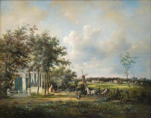 Het kleine buitenverblijf 'Lanrust' aan de Kleverlaan in Bloemendaal. Schilderij van Melis Lameer (1848-1901) uit 1859. Het huis was het laatst in eigendom van bloembollenhandelaar C.H.Kramer en is begin 1954 gesloopt.