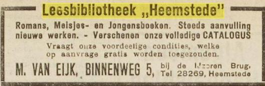 Advertentie van leesbibliotheek 'Heemstede', M. van Eijk, later verhuisd van Binnenweg 5 naar Binnenweg 49