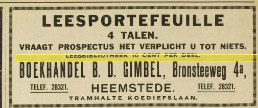 Boekhandel D.B.Gimbel, Bronsteeweg 4a